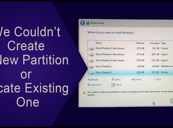 Sửa lỗi We couldn't create a new partition or locate an existing one for more information see the setup